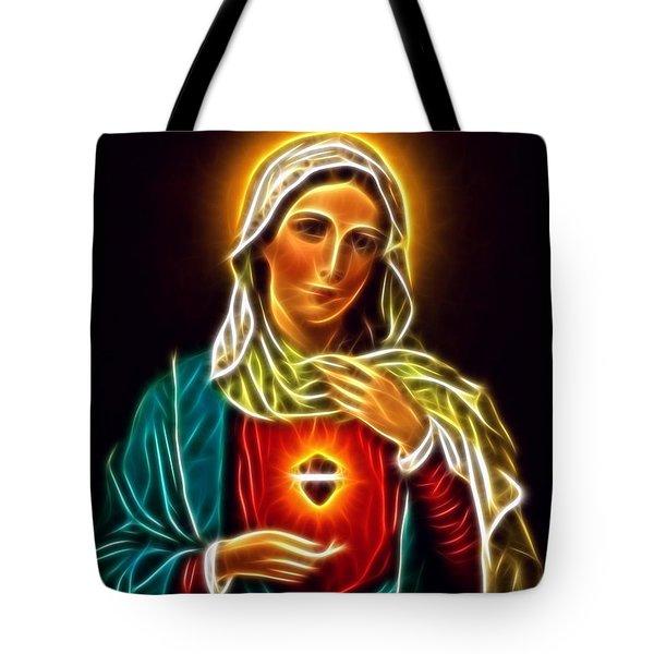 Beautiful Virgin Mary Sacred Heart Tote Bag by Pamela Johnson