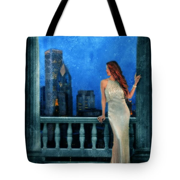 Beautiful Woman In Evening Gown With City Night View Tote Bag by Jill Battaglia