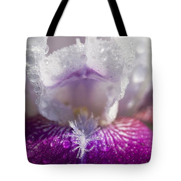 Bedazzled Purple And White Iris Tote Bag by Kathy Clark