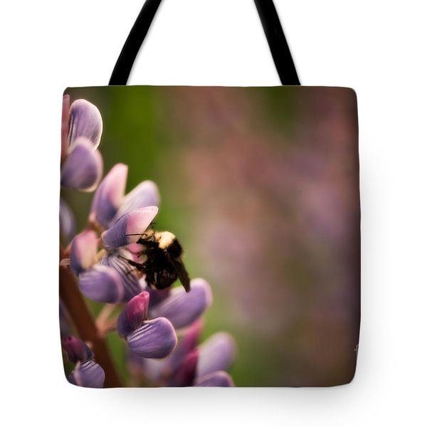 Bee And Lupine Tote Bag by Venetta Archer