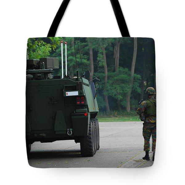Belgian Infantry Soldiers Walk Tote Bag by Luc De Jaeger
