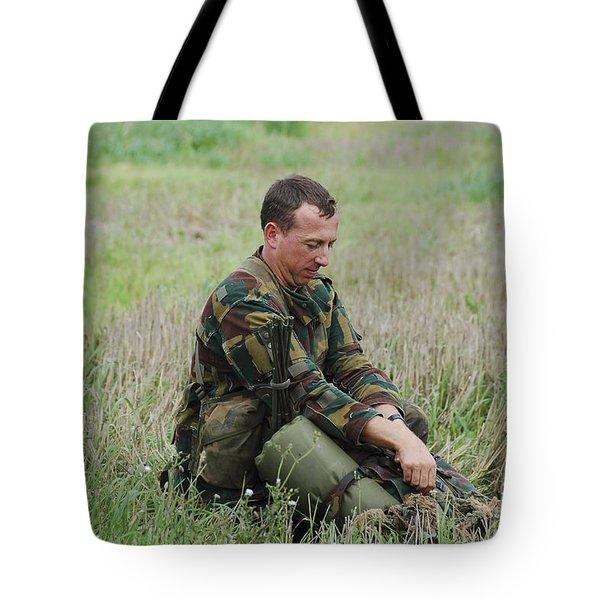 Belgian Paratroopers Red Berets Tote Bag by Luc De Jaeger