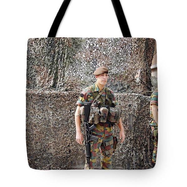 Belgian Soldier On Guard Tote Bag by Luc De Jaeger