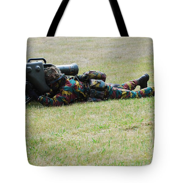 Belgian Soldiers Setting Up The Milan Tote Bag by Luc De Jaeger