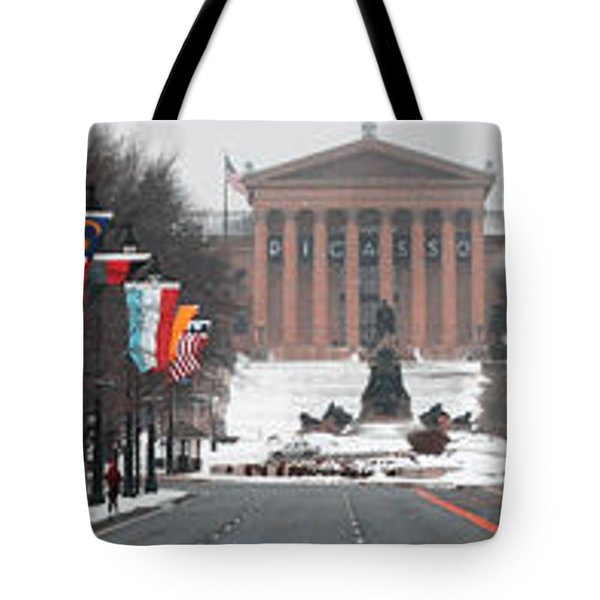 Benjamin Franklin Parkway Panorama Tote Bag by Bill Cannon