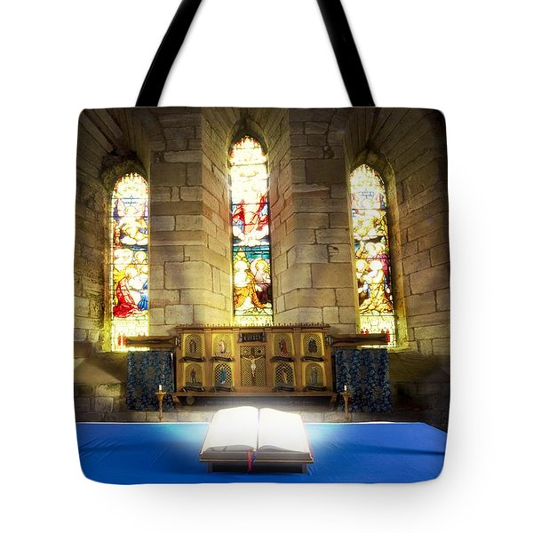 Bible In Church Tote Bag by John Short
