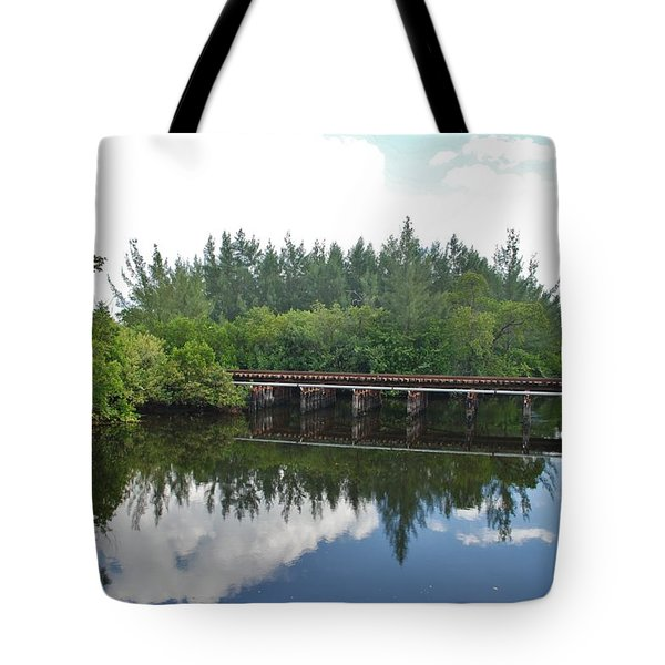 Big Sky And Docks On The River Tote Bag by Rob Hans