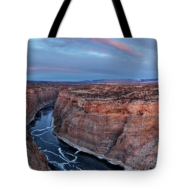 Bighorn River Winter Sunset Tote Bag by Leland D Howard