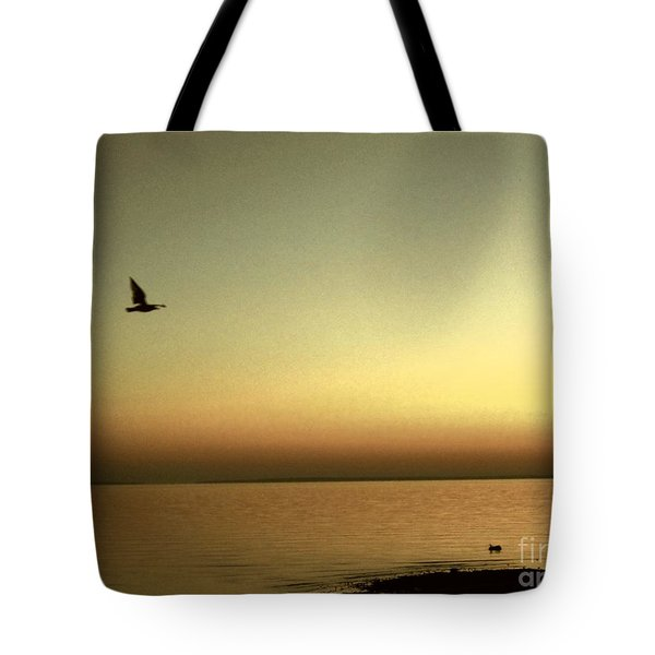 Bird At Sunrise - Sepia Tote Bag by Desiree Paquette