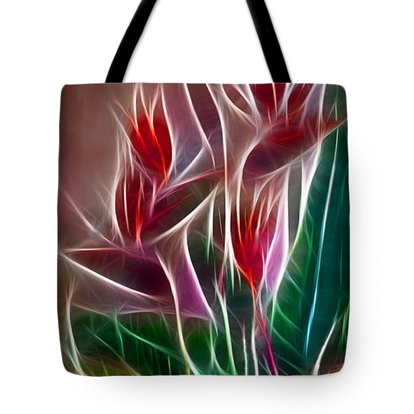 Bird of Paradise Fractal Tote Bag by Peter Piatt