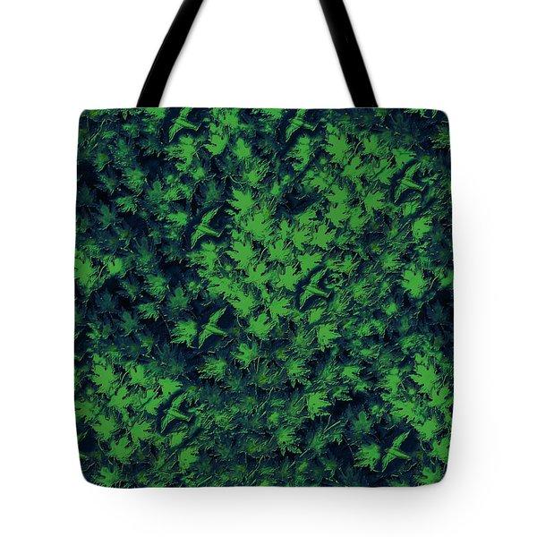 Birds In Green Tote Bag by David Dehner