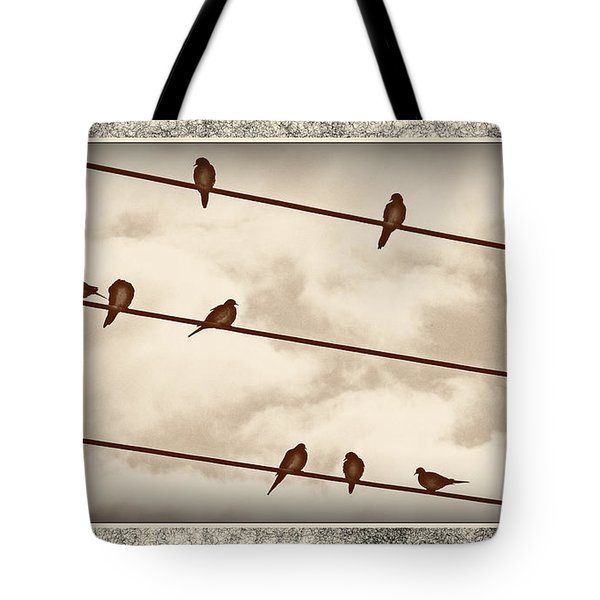 Birds On Wires Tote Bag by Susan Kinney