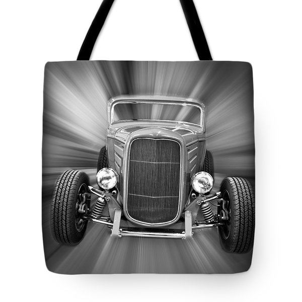 Black and White 32 Ford Tote Bag by Steve McKinzie