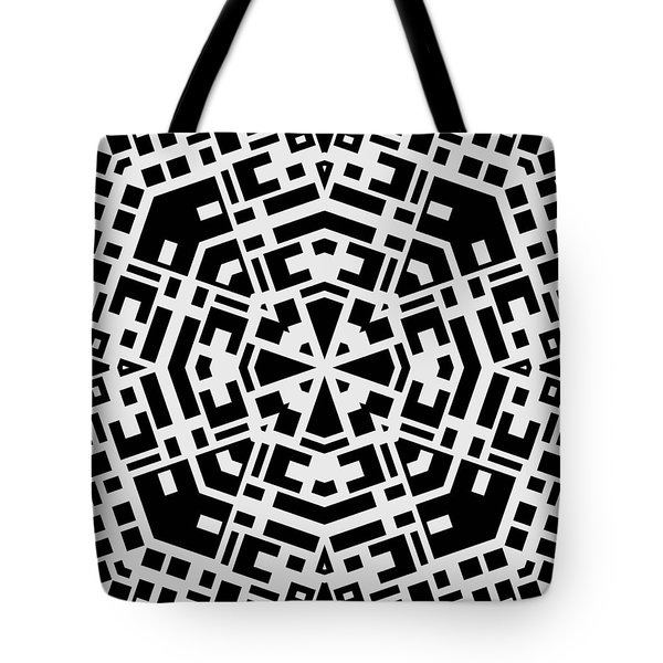 Black And White Kaleidoscope Tote Bag by David G Paul
