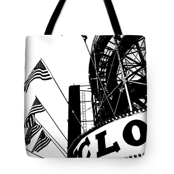 Black and White Roller Coaster Cyclone Tote Bag by ArtyZen Studios