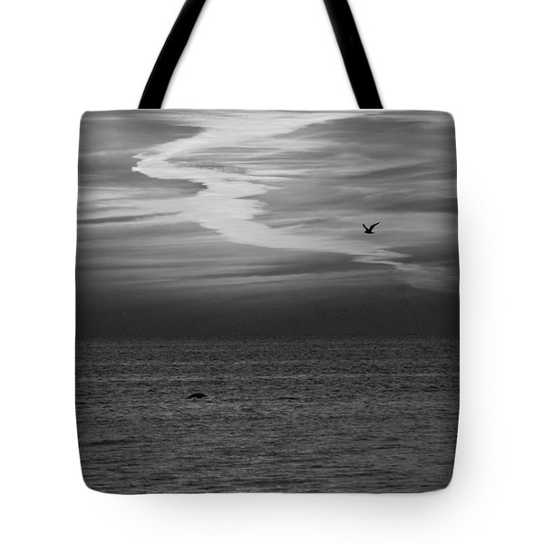 Black and White Sunset Tote Bag by Aimee L Maher Photography and Art
