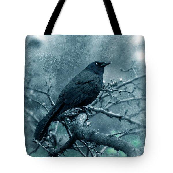 Black Bird On Branch Tote Bag by Jill Battaglia