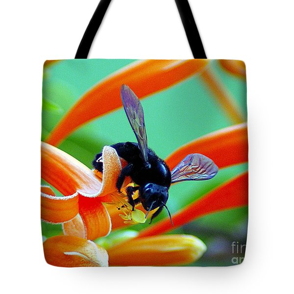 Black  Bumblebee  Tote Bag by John  Kolenberg