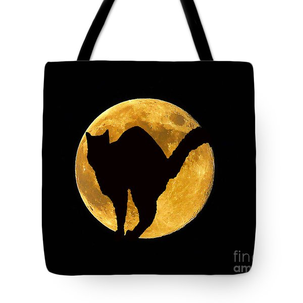 Black Cat Moon Tote Bag by Al Powell Photography USA