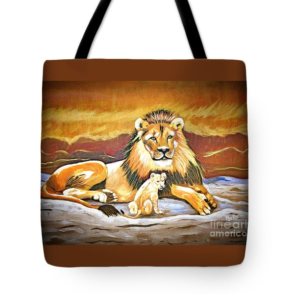 Black Maned Lion And Cub Tote Bag by Phyllis Kaltenbach