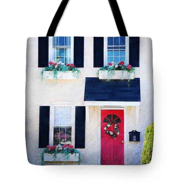 Black Window Shutters with Flowers Tote Bag by Paul Ward