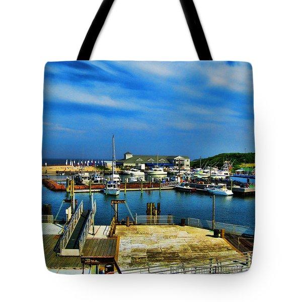 Block Island Marina Tote Bag by Lourry Legarde