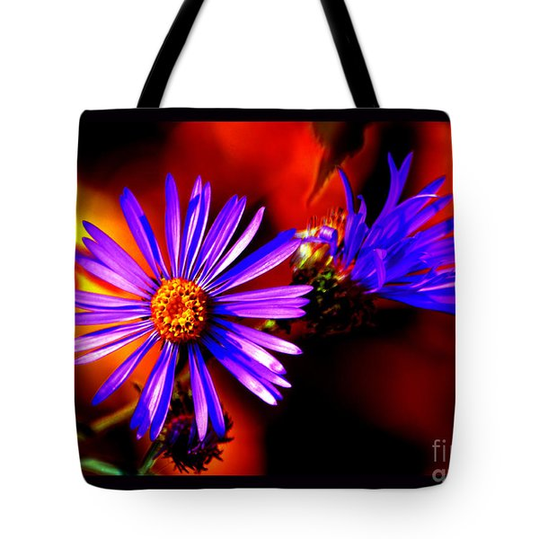 Blooming Asters Tote Bag by Susanne Still