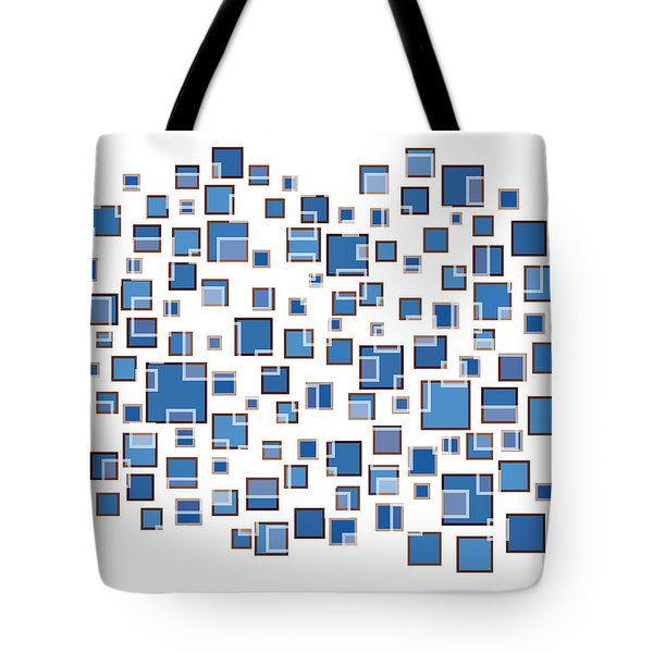 Blue Abstract Rectangles Tote Bag by Frank Tschakert