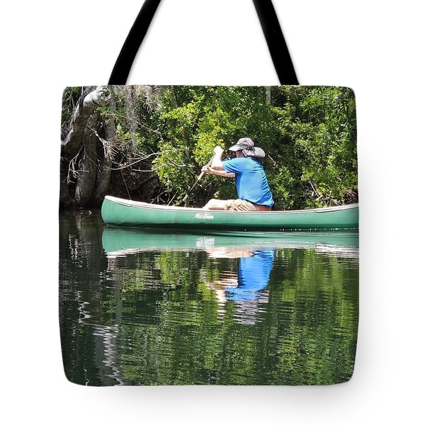 Blue Amongst The Greens - Canoeing On The St. Marks Tote Bag by Marilyn Holkham