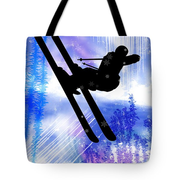 Blue And White Splashes With Ski Jump Tote Bag by Elaine Plesser