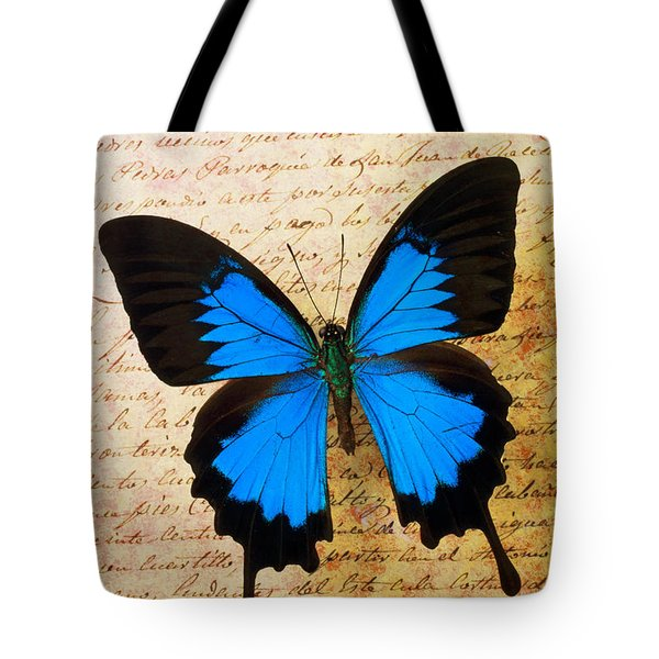 Blue Butterfly On Old Letter Tote Bag by Garry Gay