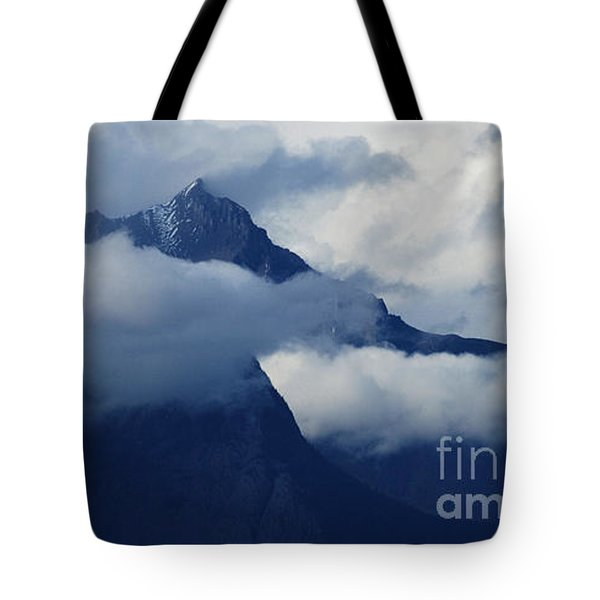 Blue Canadian Rockies Tote Bag by Bob Christopher