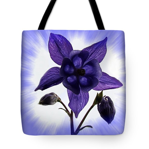Blue Columbine Tote Bag by Nick Kloepping