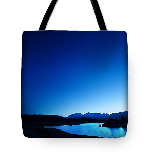 Blue Dusk Mono Lake Tote Bag by Sylvia J Zarco