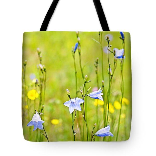 Blue harebells wildflowers Tote Bag by Elena Elisseeva