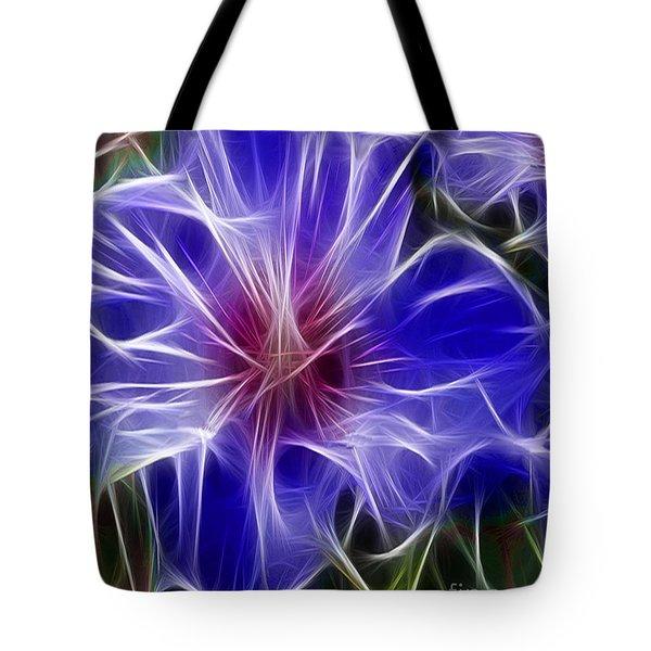 Blue Hibiscus Fractal Panel 3 Tote Bag by Peter Piatt