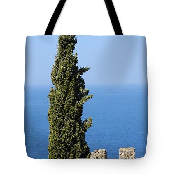Blue ocean and sky green tree - Serene and calming  Tote Bag by Matthias Hauser