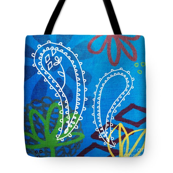 Blue Paisley Garden Tote Bag by Linda Woods