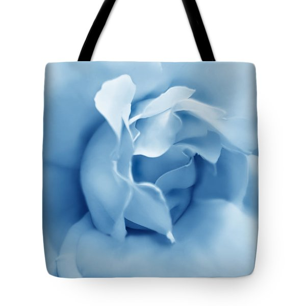 Blue Pastel Rose Flower Tote Bag by Jennie Marie Schell