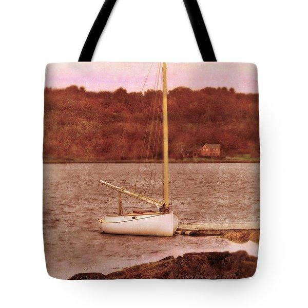 Boat Docked On The River Tote Bag by Jill Battaglia
