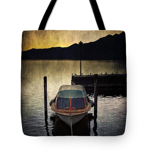 Boat During Sunset Tote Bag by Joana Kruse
