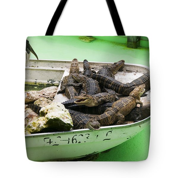 Boat full of alligators  Tote Bag by Garry Gay