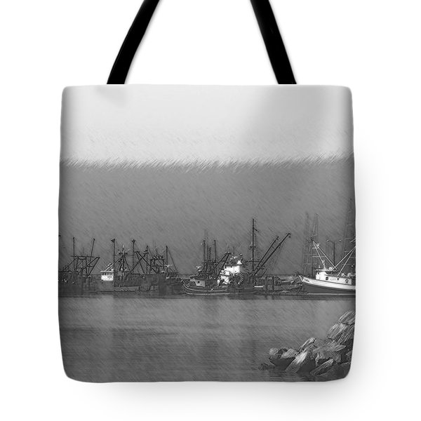 Boats in Harbor Charcoal Tote Bag by Chalet Roome-Rigdon
