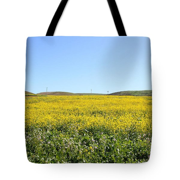 Bodega Bay . Yellow Field . 7D12403 Tote Bag by Wingsdomain Art and Photography