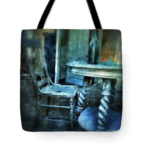 Bottle On Table In Abandoned House Tote Bag by Jill Battaglia