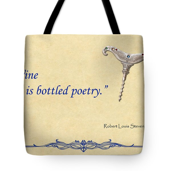Bottled Poetry Tote Bag by Elaine Plesser