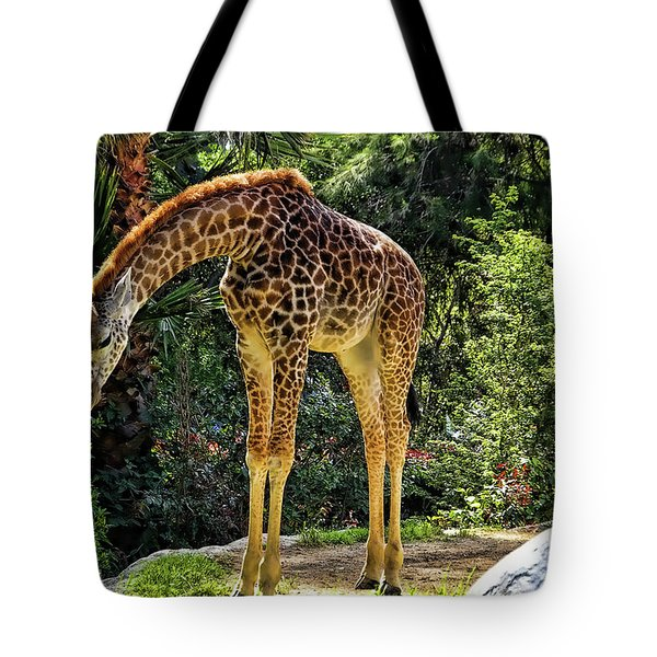 Bowing Giraffe Tote Bag by Mariola Bitner