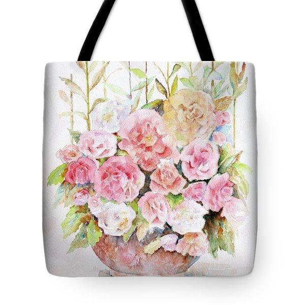 Bowl Full Of Roses Tote Bag by Arline Wagner