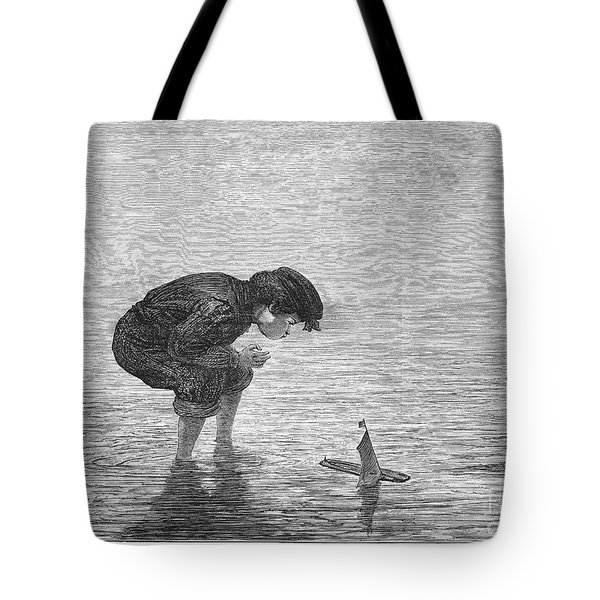 Boy And Toy Boat Tote Bag by Granger