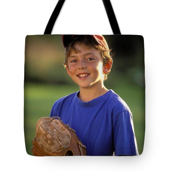 Boy With Baseball Glove Tote Bag by John Sylvester